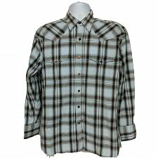 Buy Brooks & Dunn Panhandle Slim Western Pearl Snap Shirt Large Brown White Plaid