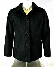 Buy London Fog womens Large L/S black WOOL blend button down fully LINED jacket (C5)