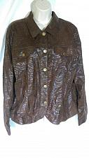 Buy Erin London Women's Jacket Large Animal Print Button Front Brown Collared