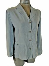 Buy ML & COMPANY womens Medium L/S blue gray FAUX SUEDE button down jacket (A5)