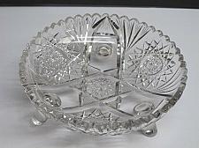 Buy Cut glass ABP 3 leged bowl blown blank Antique