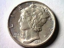 Buy 1941 MERCURY DIME CHOICE UNCIRCULATED / GEM CH.UNC./GEM NICE ORIGINAL COIN