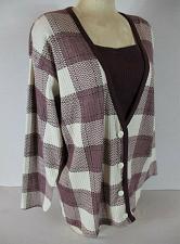 Buy CENTER AISLE womens Medium L/S wine white CARDIGAN LOOK sweater (H)