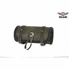 """Buy Motorcycle Tool Bag 10"""" Leather Dark Brown Concho Universal Front Back Fork New"""