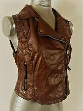 Buy PAPER TEE womens Medium sleeveless brown FAUX LEATHER ZIPPER jacket (A5)P