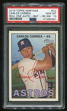 Buy 2016 TOPPS HERITAGE REAL ONE RED AUTO CARLOS CORREA PSA 10 GEM MINT (41290281)