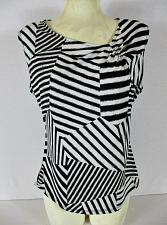 Buy DRESSBARN womens Sz PL S/S black white STRIPED stretch top (O)