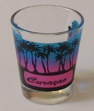 "Buy Curacao Blue & Pink Palm Trees 2.25"" Collectible Shot Glass"