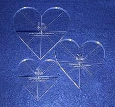 """Buy Heart Template 3 Piece Set. 4"""",5"""",6"""" - Clear 3/8"""" Thick w/ guidelines"""