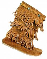 Buy Minnetonka Women's 3 Layer Fringe Brown Suede Moccasin Boots Size 4