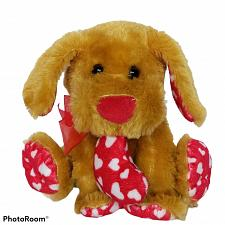 Buy Valentine Dog Sitting with Heart Plush Brown Red Stuffed Animal 2015 6.5""