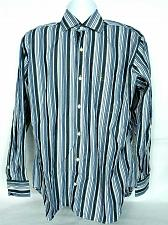 Buy Tailorbyrd Mens Button Front Shirt Large Striped Black Blue White Long Sleeve