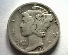 Buy 1931-D MERCURY DIME FINE+ F+ NICE ORIGINAL COIN FROM BOBS COINS FAST SHIPMENT