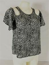 Buy CHARLOTTE RUSSE womens Small black white COLD SHOULDER keyhole back top (Z)