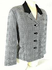 Buy PERCEPTIONS womens Sz 12 L/S gray PLAID button down VELVET collar jacket (B3)P