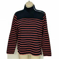 Buy J Crew Heavyweight Button Shoulder Turtleneck Sweater Small Blue Red Striped