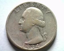 Buy 1934 LIGHT MOTTO WASHINGTON QUARTER FINE+ F+ NICE ORIGINAL COIN BOBS COINS