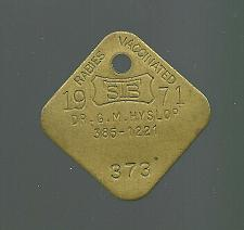 Buy Vintage DOG License Brass Tag Rabies Vaccination Dr GM Hyslop 1971