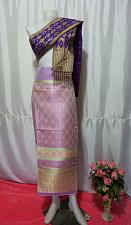 Buy Purple Gold Thai Lanna Synthetic Silk sinh Skirt Pha Bieng Tailor to your size