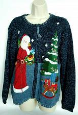 Buy Tiara International Women's Christmas Cardigan Sweater Med Santa Claus Tree