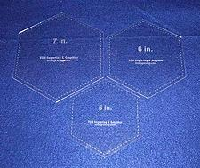 "Buy Hexagon Templates. 5"", 6"", 7"" - Clear 1/8"""