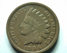 Buy 1894 INDIAN CENT PENNY FINE F NICE ORIGINAL COIN FROM BOBS COINS FAST SHIPMENT