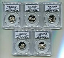 Buy 2005 SILVER PROOF QUARTER SET PCGS PR69 DCAM 5 COINS PREMIUM QUALITY COINS