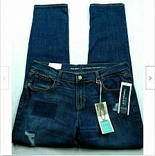 Buy Old Navy Boyfriend Straight Jeans Size 6 Regular Distressed Patchwork Stretch