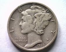 Buy 1939-S MERCURY DIME EXTRA FINE XF EXTREMELY FINE EF TONED REVERSE ORIGINAL COIN