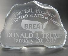 Buy Trump 45th glass paper weight inauguration gift. Made in USA