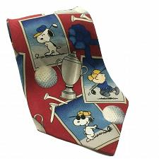 Buy Peanuts Golf Tee Time Snoopy Lucy Charlie Brown Linus Necktie 100% Silk