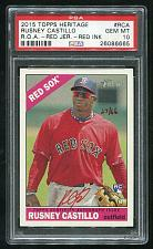 Buy 2015 TOPPS HERITAGE REAL ONE RED AUTO RUSNEY CASTILLO PSA 10 GEM MINT (26086665)