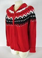Buy COVINGTON womens Large L/S red black white KNITTED full zip cardigan sweater (H)