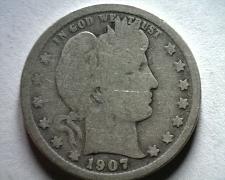 Buy 1907-O BARBER QUARTER DOLLAR GOOD / VERY GOOD G/VG NICE ORIGINAL COIN BOBS COINS