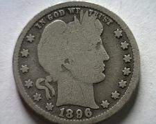 Buy 1896 BARBER QUARTER DOLLAR GOOD+ G+ NICE ORIGINAL COIN FROM BOBS COINS FAST SHIP