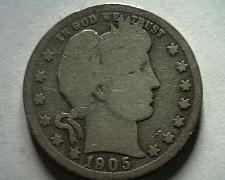 Buy 1905-S BARBER QUARTER DOLLAR GOOD G NICE ORIGINAL COIN FROM BOBS COINS FAST SHIP