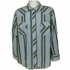 Buy Wrangler Western Pearl Snap Shirt Size XL Blue Green White Striped Long Sleeve