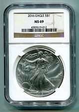 Buy 2016 AMERICAN SILVER EAGLE NGC MS69 CLASSIC BROWN LABEL AS SHOWN PREMIUM QUALITY