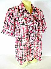 Buy BLUE DIAMOND womens Large S/S pink white black RUFFLE front BUTTON down top (B4)