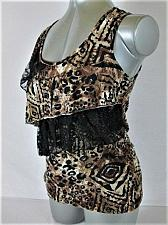 Buy Love J womens Medium BROWN BLACK WHITE LACE TIERED STRETCH TANK TOP BLOUSE (R)P