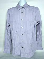 Buy Express Men's Button Down Fitted Shirt Lg 16-16 1/2 Striped Lavender Stretch