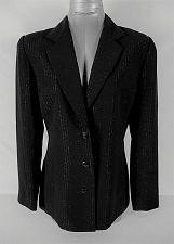 Buy ANNA CAROLE womens Sz 8 L/S black SILVER METALLIC button down LINED jacket (B4)