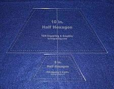 """Buy Half Hexagon Quilt Templates. 5"""" & 10"""" - Clear w/ Center Guideline 1/8"""""""