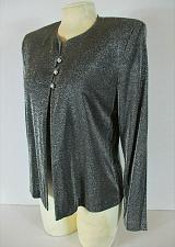 Buy AFTER DARK womens Sz 9-10 L/S gray METALLIC 3 jeweled button stretch jacket (F)