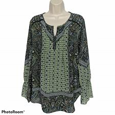 Buy Belle by Kim Gravel Womens Modern Mosaic Blouse Top Size Large Boho Loden Lime