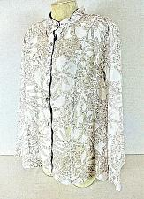 Buy Alfred Dunner womens Sz 18 L/S tan white RAYON semi SHEER button up top (C3)