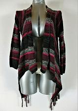Buy ARIZONA womens Large 14 L/S pink black gray OPEN FRONT cardigan sweater (H)