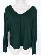 Buy Chicos Women's Blouse Top Size 1 Medium Solid Black Long Sleeve V Neck