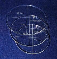 """Buy Circle Template with Seam Allowance 3 Piece Set. 4"""",5"""",6"""" - Clear ~1/4"""" Thick"""