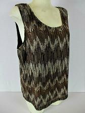 Buy CHICOS womens Sz 3 sleeveless brown white FULLY LINED stretch top (O)P